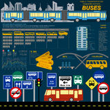 Public transportation ingographics. Buses Stock Photo