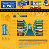 Public transportation ingographics. Buses. Public transportation infographics. Buses. Vector illustration Stock Images