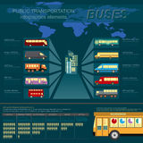 Public transportation ingographics. Buses. Royalty Free Stock Photography
