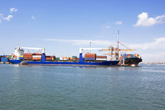 Public Transportation, Loading at the port. Loading of ships at the port of export Royalty Free Stock Photos