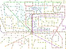 Public transportation map of a large city. Fictional vector art,isolated on white background, free copy space Royalty Free Stock Image