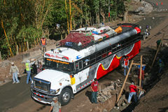 Public Transportation. Matagalpa, Nicaragua - April 7, 2015: Public Bus Transportation system traveling out of the main city towards smaller remote cities on in stock photos