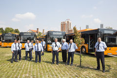 Public transportation new busses drivers Stock Image