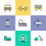 Public transportation pictogram icons set Royalty Free Stock Photos
