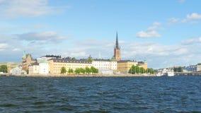 Public transportation ship going to old city, stockholm, sweden stock video