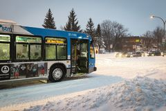 Public transportation during snow storm royalty free stock photography