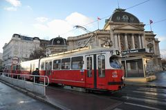 Public transportation on the streets of Wien , Austria Royalty Free Stock Photography