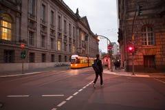 Germany Berlin, Museum Island, public transport system, progressive light rail,. Public transportation system on the streets of Museum Island, Berlin, Germany Royalty Free Stock Photos