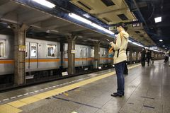 Public transportation in Tokyo stock photography