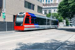 Public Transportation train in Houston texas. In the downtown theater district royalty free stock photo