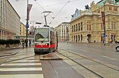 Public transportation with tram near Vienna State Opera, Austria Royalty Free Stock Photos