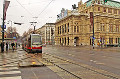 Public transportation with tram near Vienna State Opera, Austria Royalty Free Stock Photo