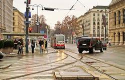 Public transportation with tram near Vienna State Opera, Austria Stock Image