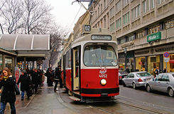 Public transportation with tram near Vienna State Opera, Austria. Public transportation with tram near Vienna State Opera at the city center of Austria`s capital Royalty Free Stock Images