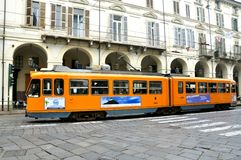 Public transportation in Turin, Italy. Old tramway in the city Stock Images
