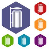 Public trash can icons set hexagon Royalty Free Stock Images