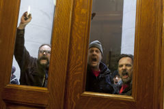 Public Union Thugs At the Door Stock Photo