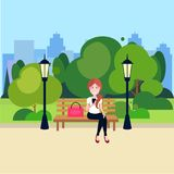 Public urban park woman hold smartphone sitting wooden bench street lamp green lawn trees on city buildings template. Background flat vector illustration stock illustration