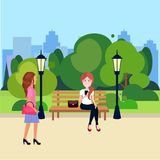 Public urban park woman sitting wooden bench outdoors walking street lamp green lawn trees on city buildings template. Background flat vector illustration vector illustration
