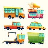 Public and urban passenger transport vector cartoon vehicles colorful isolated icons set royalty free illustration
