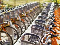 Public use bicycles Royalty Free Stock Photo