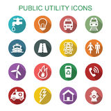 Public utility long shadow icons Royalty Free Stock Photography