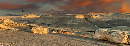Public view point on desert of the Negev, Israel. The photo was taken from Midreshet of Sde Boqer, Israel Stock Photo