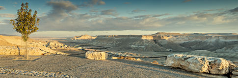 Public view point on hills of desert of the Negev, Israel Royalty Free Stock Photography
