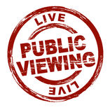 Public viewing. A stylized red stamp symbolizing public viewing. All on white background Stock Images