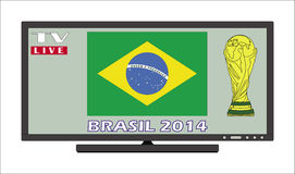 Public viewing brazil 2014. Public viewing 2014 FIFA World Cup-live on TV Royalty Free Stock Image