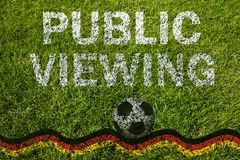 Public viewing with german flag on meadow royalty free stock photo