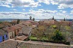 public village of granadilla in caceres stock images