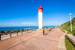 Public Walkway Lighthouse Beach Ocean Stock Photo