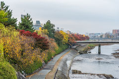 Public walkway beside river for relaxing when autumn is coming in Gion area, Kyoto city, Japan Stock Image