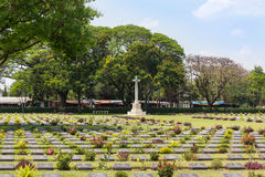 Public war cemetery Don Rak is the historical monuments of allied prisoners of the world war II in Kanchanaburi T. Hailand in sunny day Stock Photography