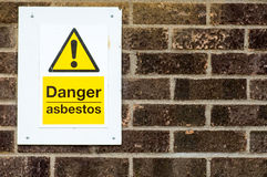 Public warning signs. Concerning the presence of asbestos Royalty Free Stock Image