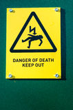 Public warning signs. Signs placed to warn the public of hazards or to give specific orders Royalty Free Stock Photo