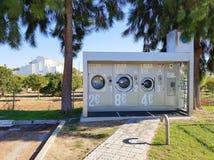 Public washing machines stock images