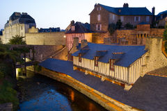 Public washing-places in Vannes, France. These washing-places with long roofs, built on the banks of the Marle Stream at the beginning of the 19C are undoubtedly stock photography
