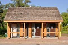 Public washroom building. Public washroom for men, women, and families Stock Images