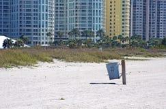 Public waste basket on the beach. A public waste basket on the beach. Upham Beach, FL Stock Photo