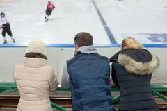 Public watching ice hockey match. Public watching an ice hockey match Stock Photos