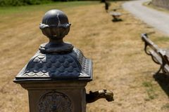 Public Water Fountain. Isola Polvese: Castle In a Summer Day Stock Image