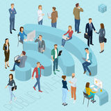 Public wi-fi. People  sign of public wi-fi. Flat design 3d isometric people, men and women various poses, styles and professions front and back view Stock Images