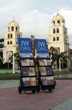 Public Witnessing Cart. A cart of magazines, brochures and tract stock image