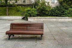 Public wood bench Stock Image