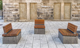Public wood benches Stock Image