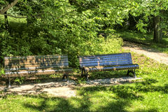 Public wood benches Royalty Free Stock Photos