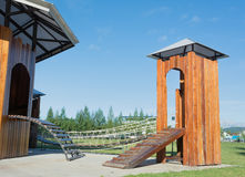public wooden playground Stock Image