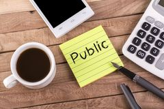 Public word on memo. With pen , coffee , mobile and calculator on wooden table royalty free stock images